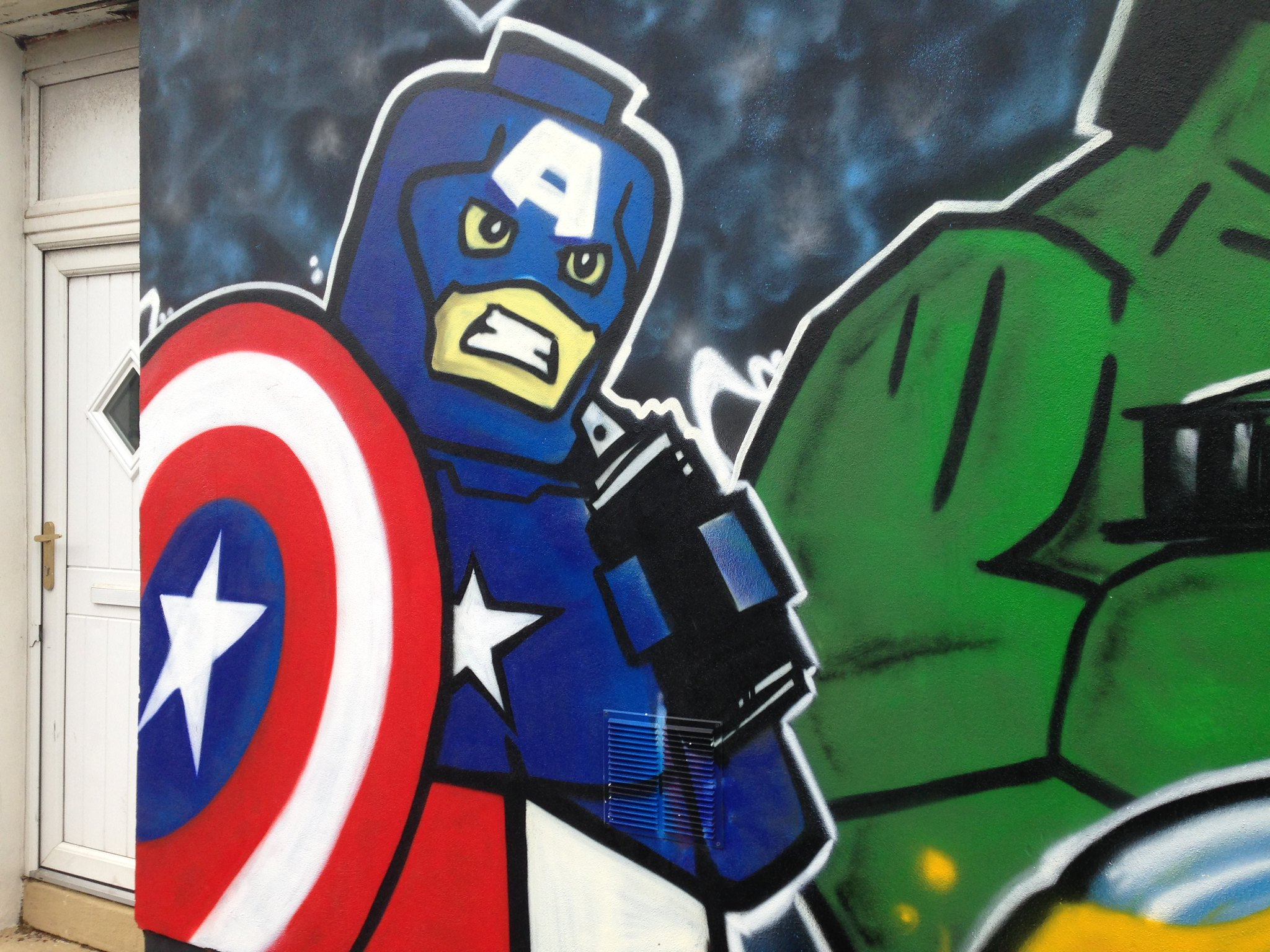 Marvel Lego Captain America street art, Blackpool, by Dominic Carlyle