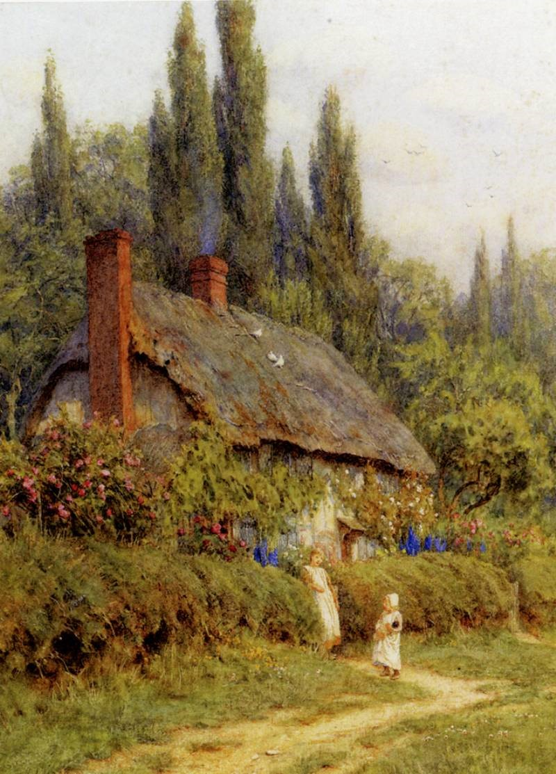 Children On A Path Outside A Thatched Cottage, West Horsley, Surrey by Helen Allingham