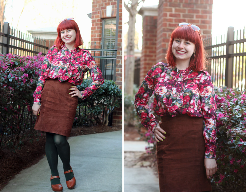 Brown Suede Pencil Skirt, Dark Green Tights, Pink and Green Floral Shirt, and Clogs