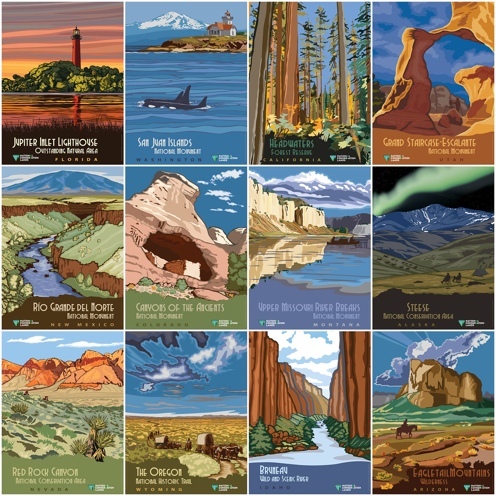 national conservation lands vintage poster series