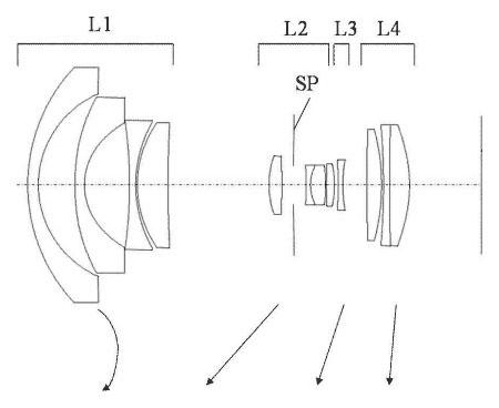 Схема из патента на объектив Canon EF-M 9-18 f/3.5-4.5 STM