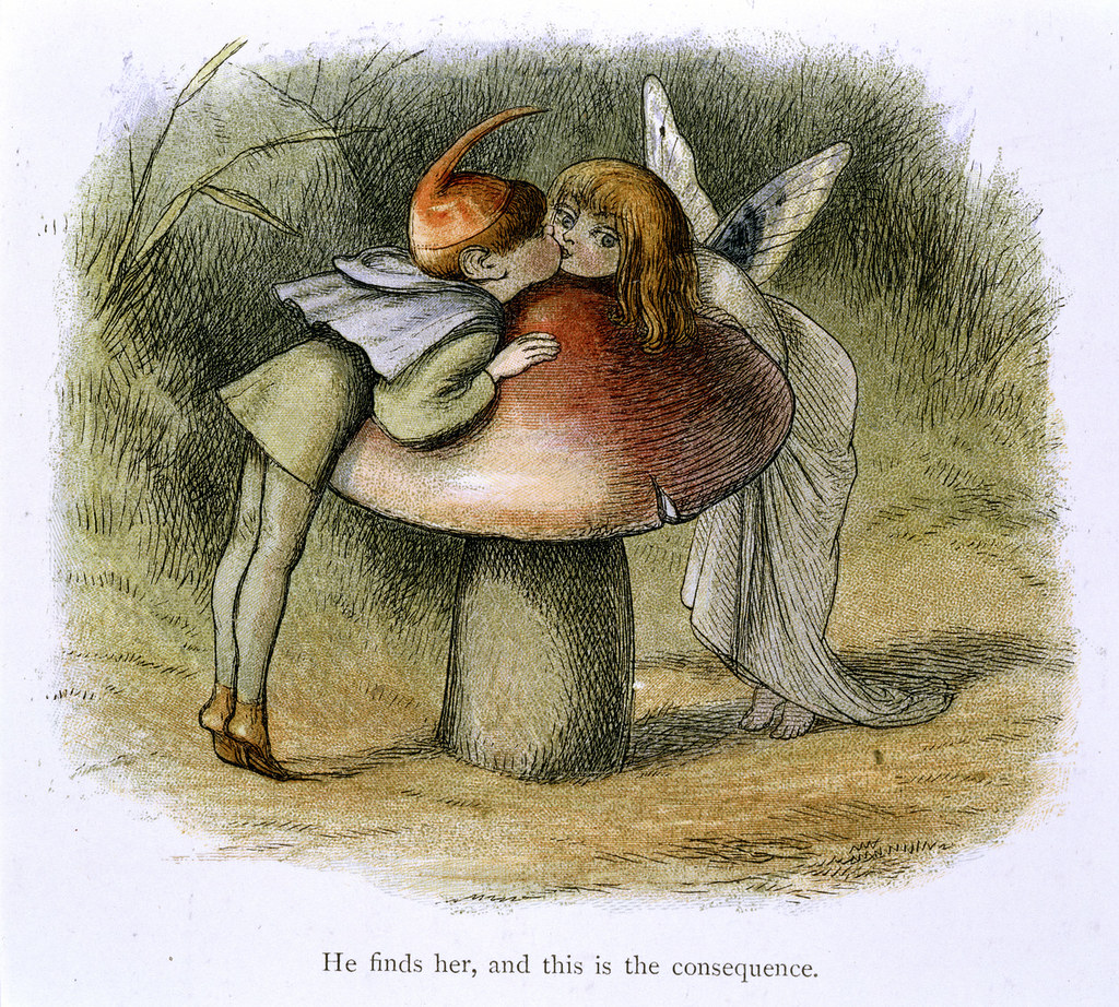 In Fairy Land A series of pictures from the elf-world by Richard Doyle With a poem by W Allingham - caption: 'An elf and a fairy kissing'.