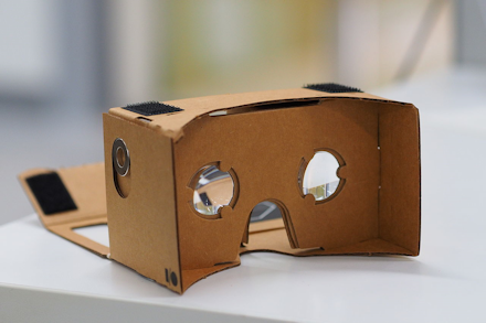 An assembled Google Cardboard VR mount