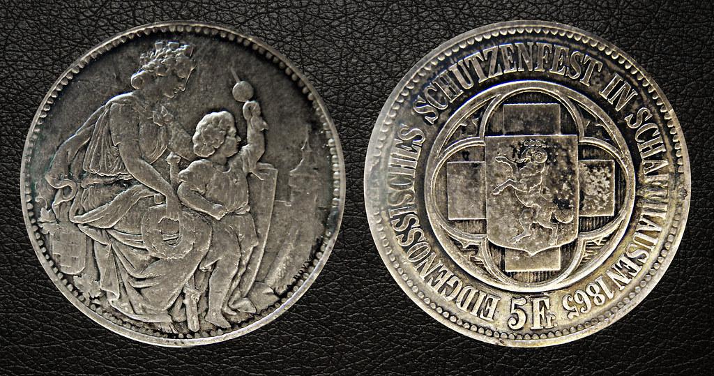 "5 Francos - Suiza 1865 ( ""Thaler Shooting"" ) 25530106261_4b4bf5c962_b"