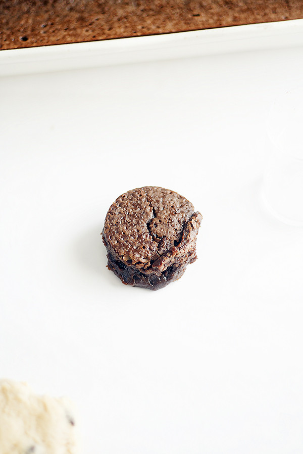 fudgy brownie center for brownie stuffed chocolate chip cookies | heathersfrenchpress.com