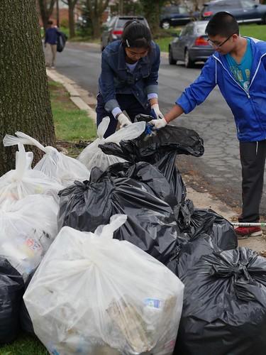 Volunteers at a cleanup