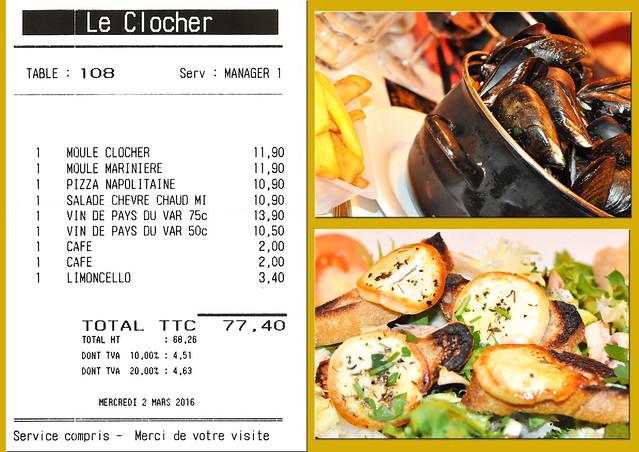 """Nach einem anstrengenden Tag in Cannes und einem langen Spaziergang auf der Île Sainte-Marguerite haben wir uns heute ein leckeres Abendessen mit Wein und Limoncello verdient ! Wir entscheiden uns für das Restaurant """"Le Clocher"""" in Nizza und ich bestelle mir einen """"Salade Chèvre chaud Miel"""" - einen großer Salatteller mit gerösteten Brotscheiben, auf denen Ziegenkäse (chèvre) mit Honig (miel) gratiniert wurden. Immer wieder sehr lecker! Und was liegt auf den anderen Tellern? Pizza und Moules frites. Und heute gibt es zum Abschluss auch mal einen köstlichen Limonello."""