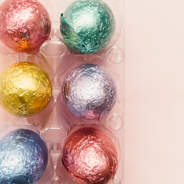 chocolate, colourful foil covered eggs