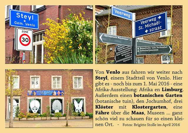 Von Venlo aus fahren wir weiter nach Steyl, einem Stadtteil von Venlo. Hier gibt es - noch bis zum 1. Mai 2016 - eine Afrika-Ausstellung: Afrika en Limburg. Außerdem einen botanischen Garten (botanische tuin), den Jochumhof, drei Klöster mit Klostergarten, eine Fähre über die Maas, Museen ... ganz schön viel zu schauen für so einen kleinen Ort. Foto Fotocollage Brigitte Stolle April 2016
