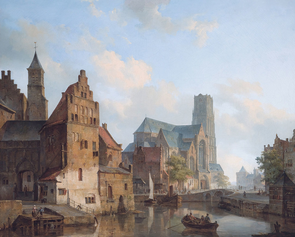 A View of the Delftse Vaart and Saint Laurens Church, Rotterdam by Cornelis Springer, 1840