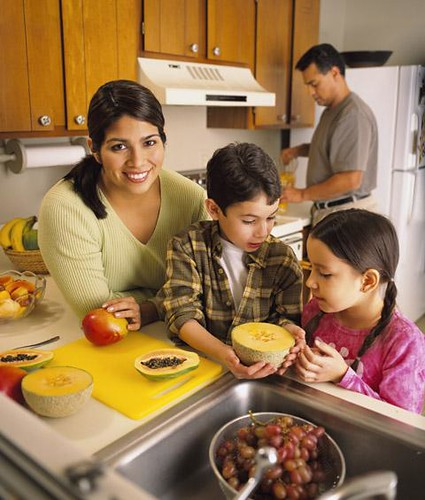 A family making food