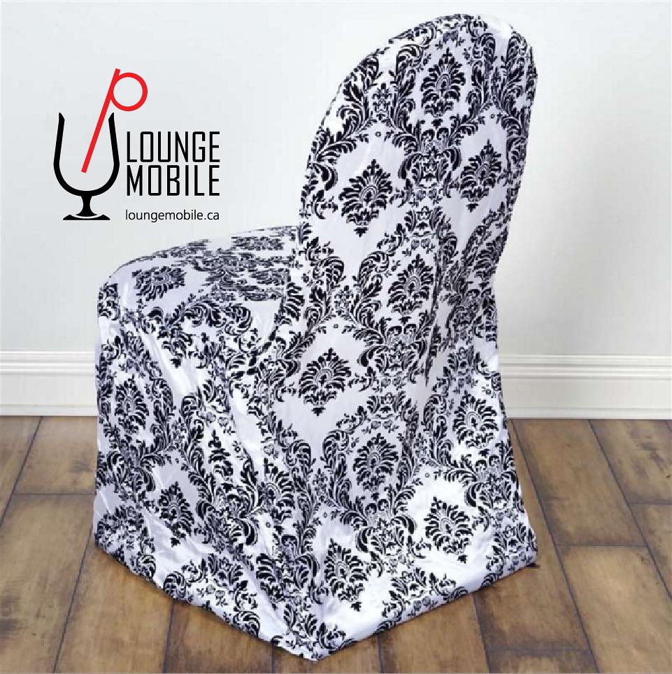 Housse polyester damass noir et blanc 2 up u p lounge for Housse clic clac noir et blanc