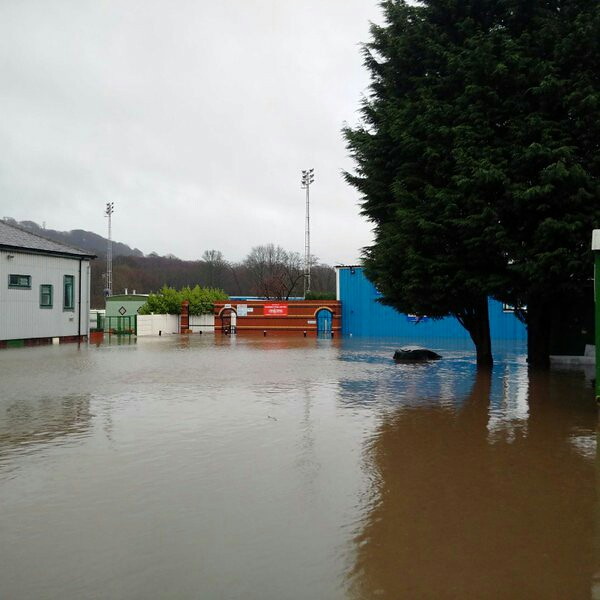 Ramsbottom United Football Club in Ramsbottom during the floods on Boxing Day 2015. Photo courtesy of Stephen Heard on twitter (@Stephen_Heard)