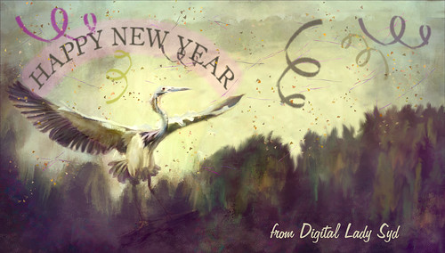 Image of an Egret celebrating New Years