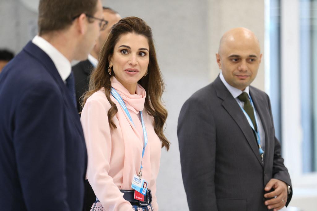 Queen Rania Al Abdullah of Jordan and UK minister Sajid Ja ...