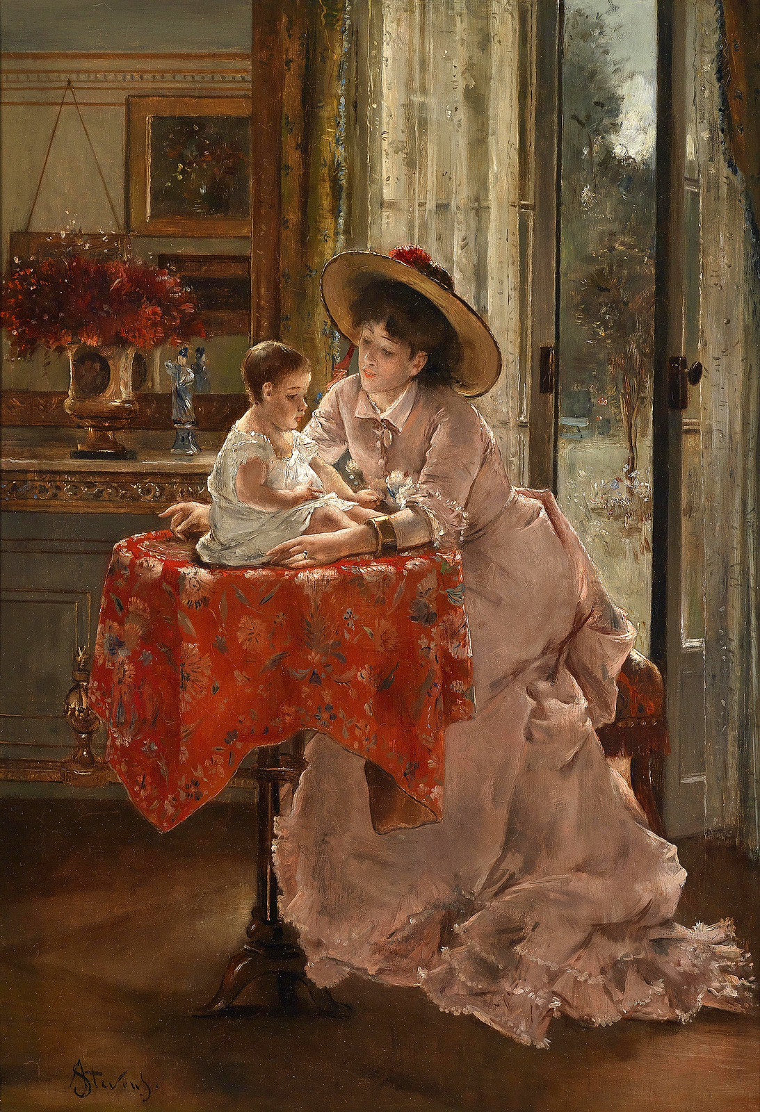 The Happy Mother by Alfred Stevens, 1823-1906