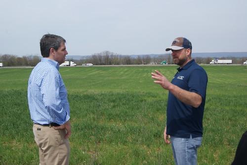 USDA Risk Management Agency Associate Administrator Tim Gannon (left) and Jason Forrester talking about planting plans