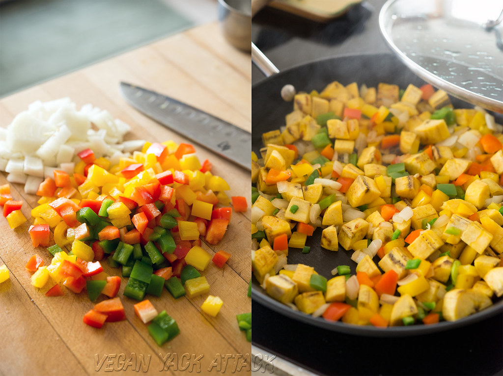 chopped bell peppers and onions on a cutting board, then in a sauté pan