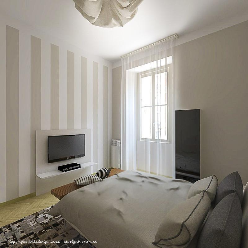 Pareti A Righe Verticali Tortora : Camera da letto con parete a righe la scelta giusta è
