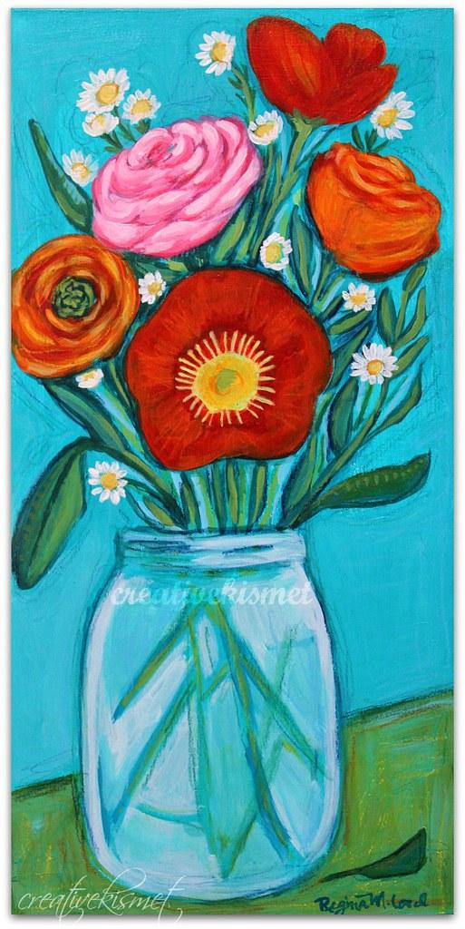 Jar of Flowers - Art by Regina Lord