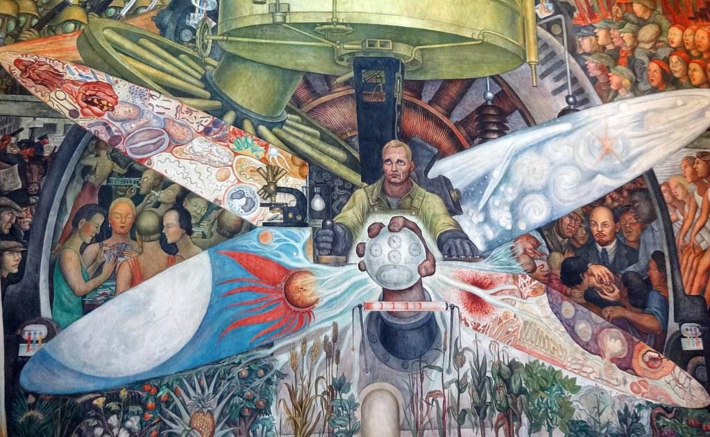 Detail of diego rivera 39 s man at the crossroads palacio de for Diego rivera rockefeller mural