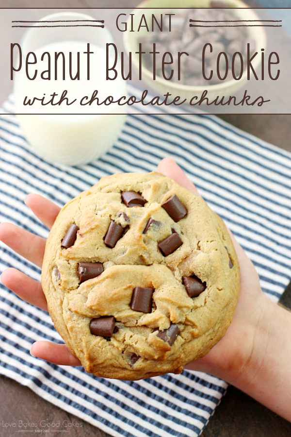 Curb that cookie craving with this Giant Peanut Butter Cookie with Chocolate Chunks! A few simple ingredients and less than 30 minutes are all that separates you from cookie bliss! AD