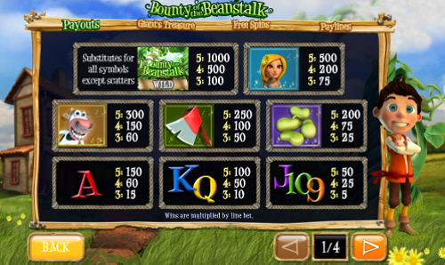 free Bounty of the Beanstalk slot payout