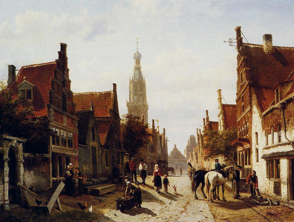 Market Oudewater by Cornelis Springer