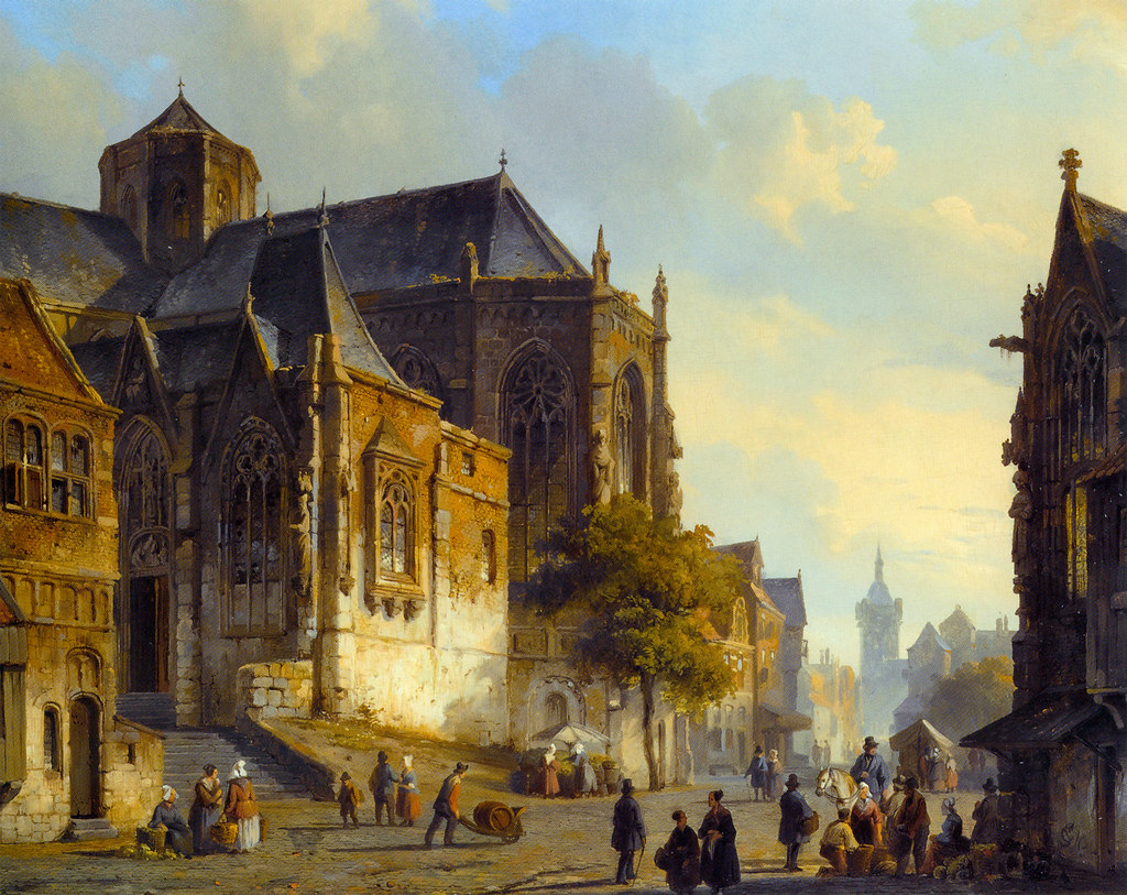 Figures on a Market Square in a Dutch Town by Cornelis Springer, 1843