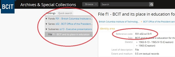 Screenshot of the file level description of 'BCIT and its place in education for the Canadian mining industry.' Reference code and nested hierarchy circled.