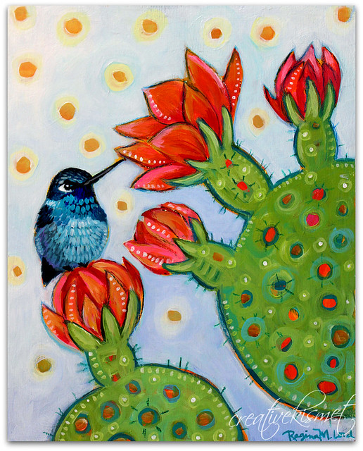 Stillness, Hummingbird with Cactus Blooms - Art by Regina Lord