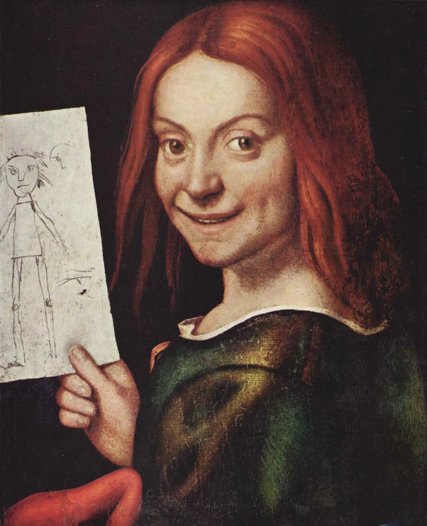 Retrato de um rapaz jovem, segurando um desenho de criança (cerca de 1515) Giovanni Francesco Caroto Museo di Castelvecchio, Verona