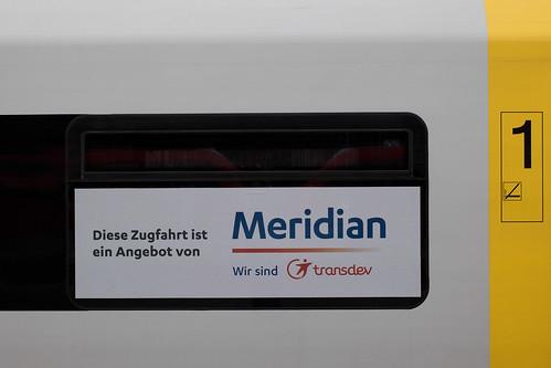 Wie bei den Ersatzzügen zu Beginn des Einsatzes wird darauf hingewiesen, dass es sich um ein Angebot der Meridian handelt