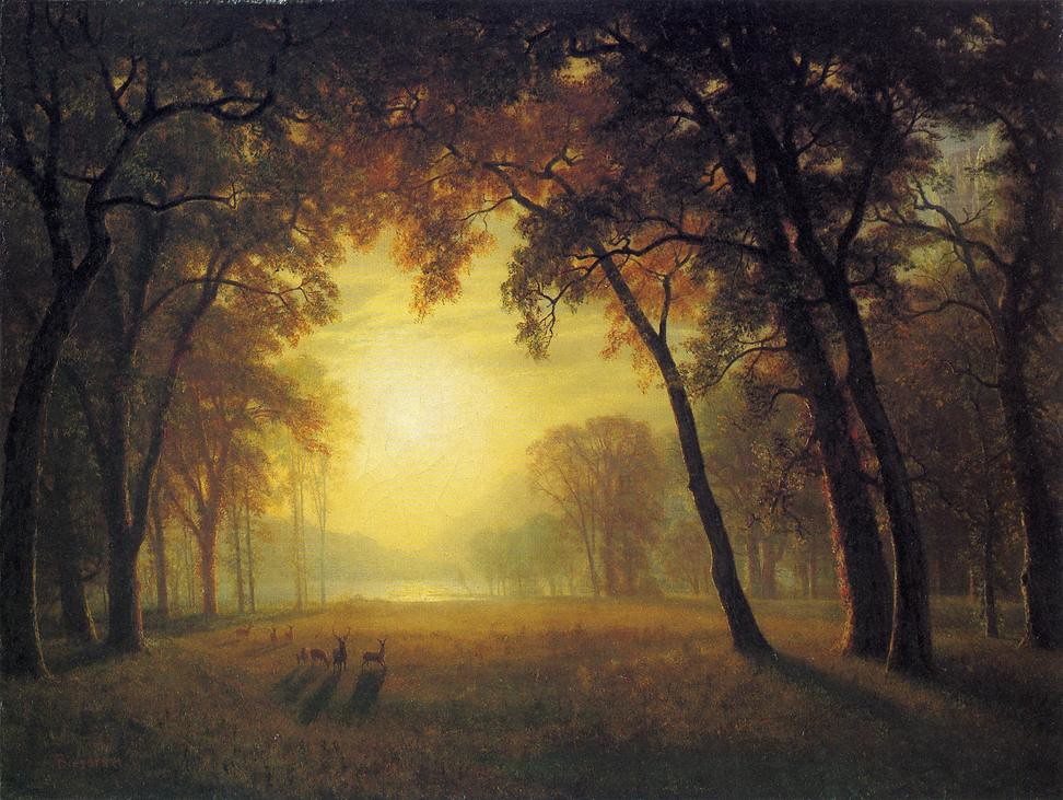 Deer in a Clearing by Albert Bierstadt (1830 - 1902)