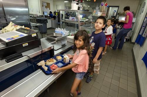 Schoolchildren with lunch