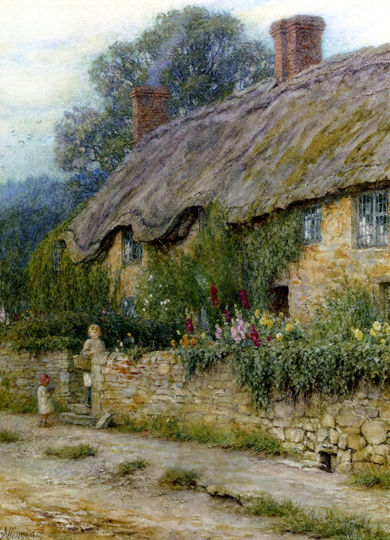 A Mother And Child Entering A Cottage by Helen Allingham