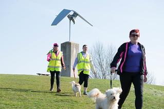 Paula and Holly walking down the hill at Great Notley parkrun.