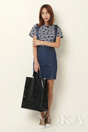 Striped t shirt matching strap denim dress fresh and lively