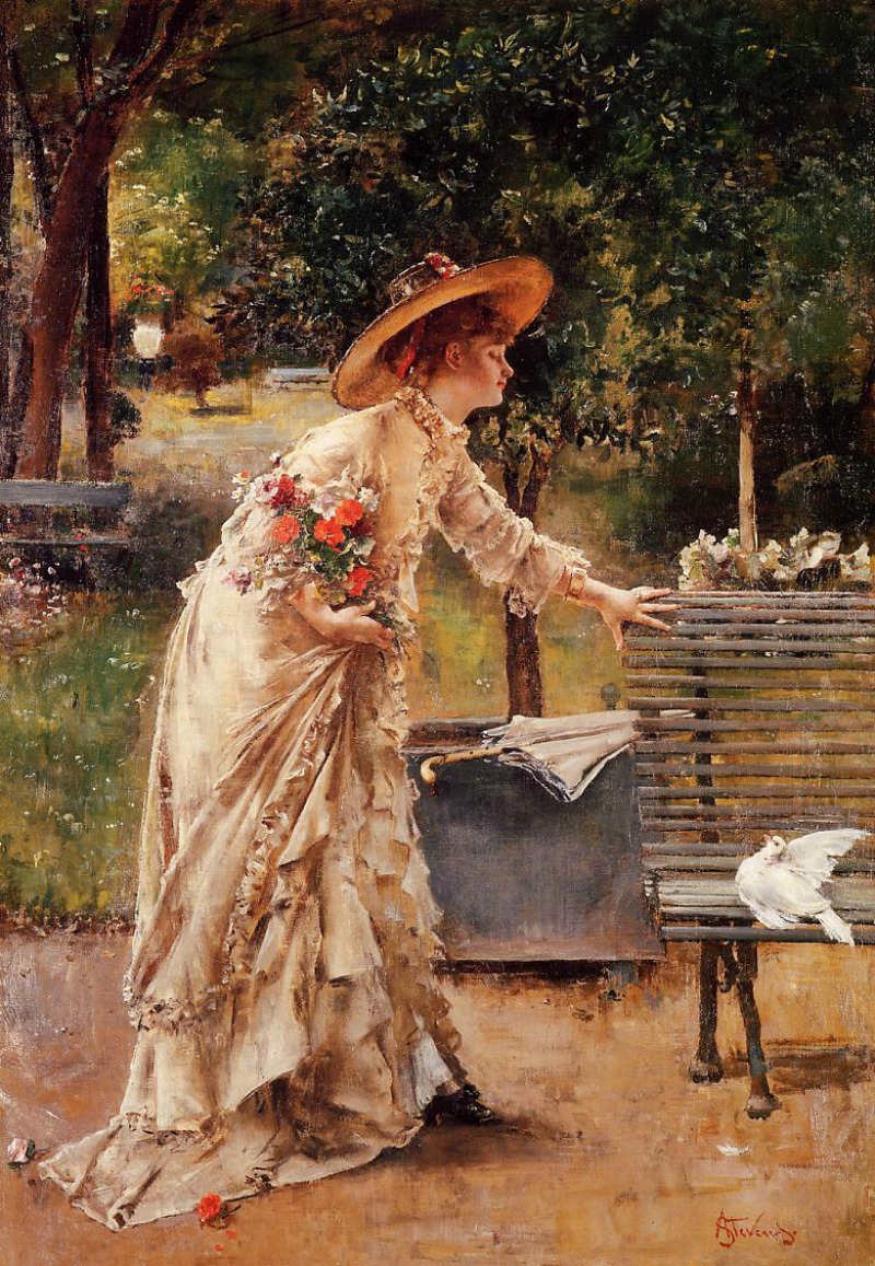 Afternoon in the Park by Alfred Émile Léopold Stevens, 1885