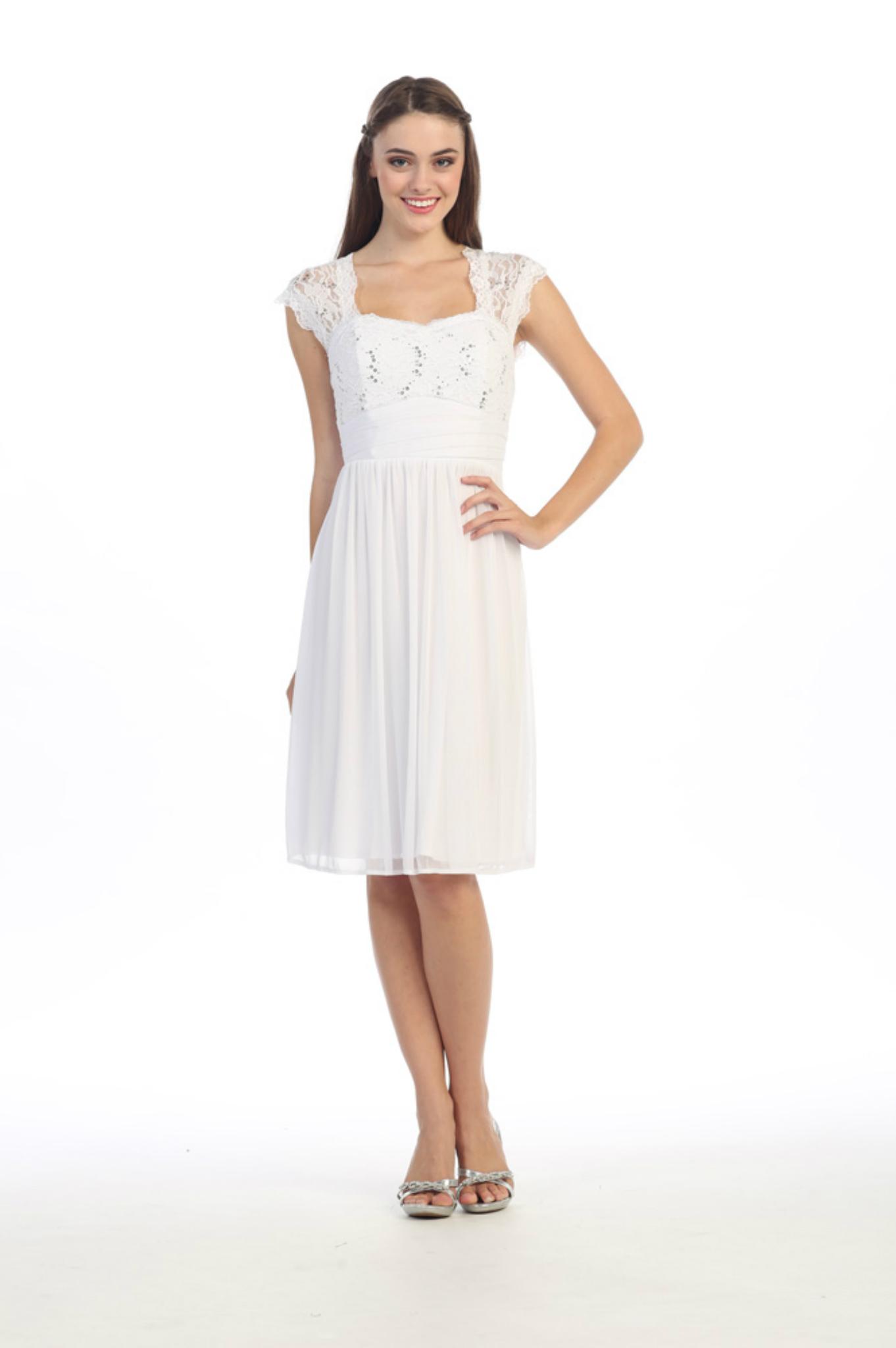 Short Elegant Knee Length Short Sleeves Semi Formal Dress