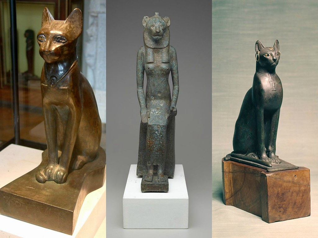 Left: Bronze statue of the cat goddess Bastet. Credit Guillaume Blanchard. Center: the Goddess Wadjet. Right: seated cat with golden earrings.