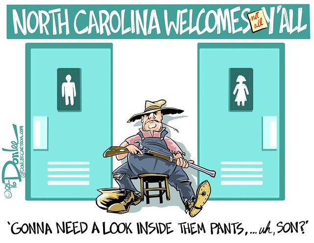 A political cartoon about the new bathroom laws in North Carolina. (DSL art and photos/Flickr)