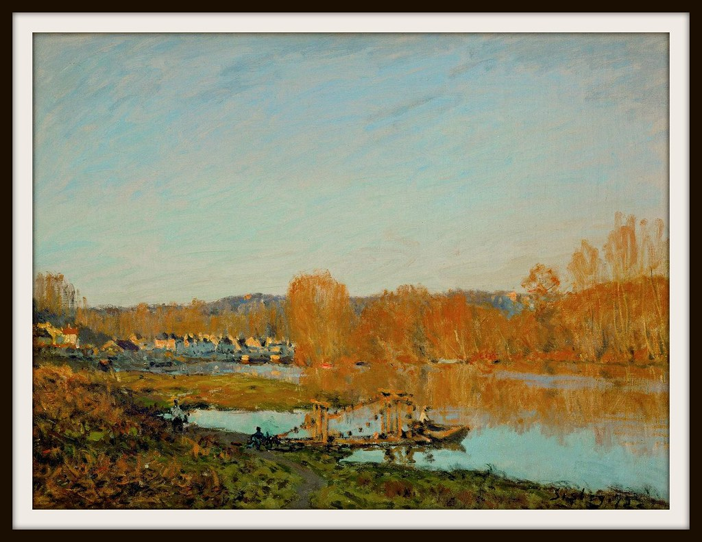 Autumn - Banks of the Seine near Bougival by Alfred Sisley 1873.