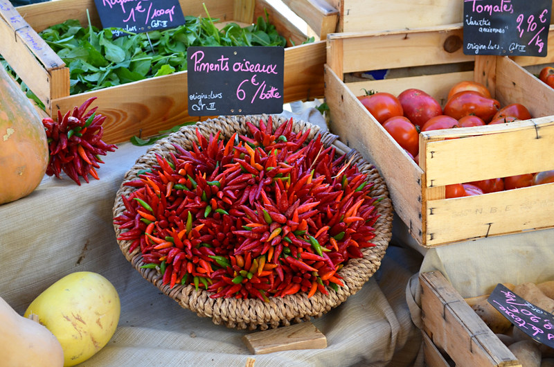 Chillies, market, Forcalquier, Provence
