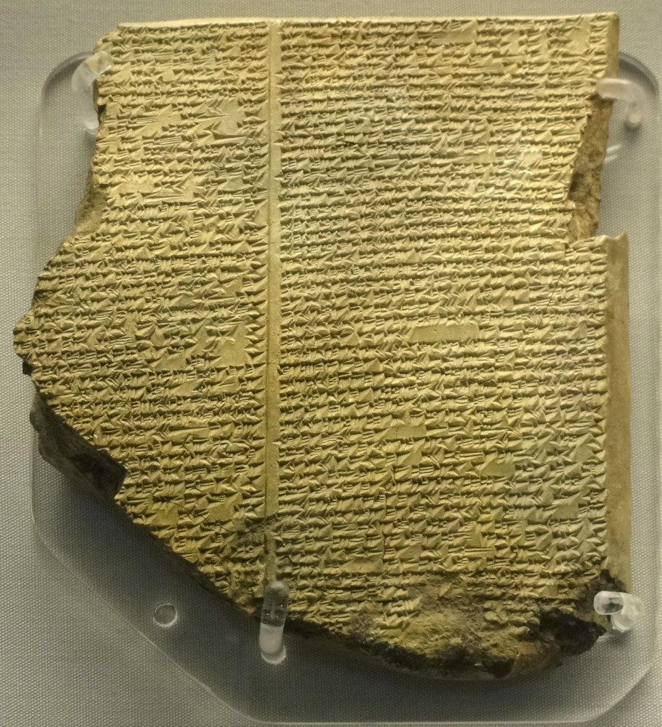Tablet from the Library of Ashurbanipal containing part of the Epic of Gilgamesh. Credit Fae