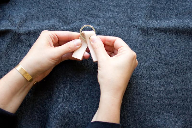 Passer l'anneau et le rivet