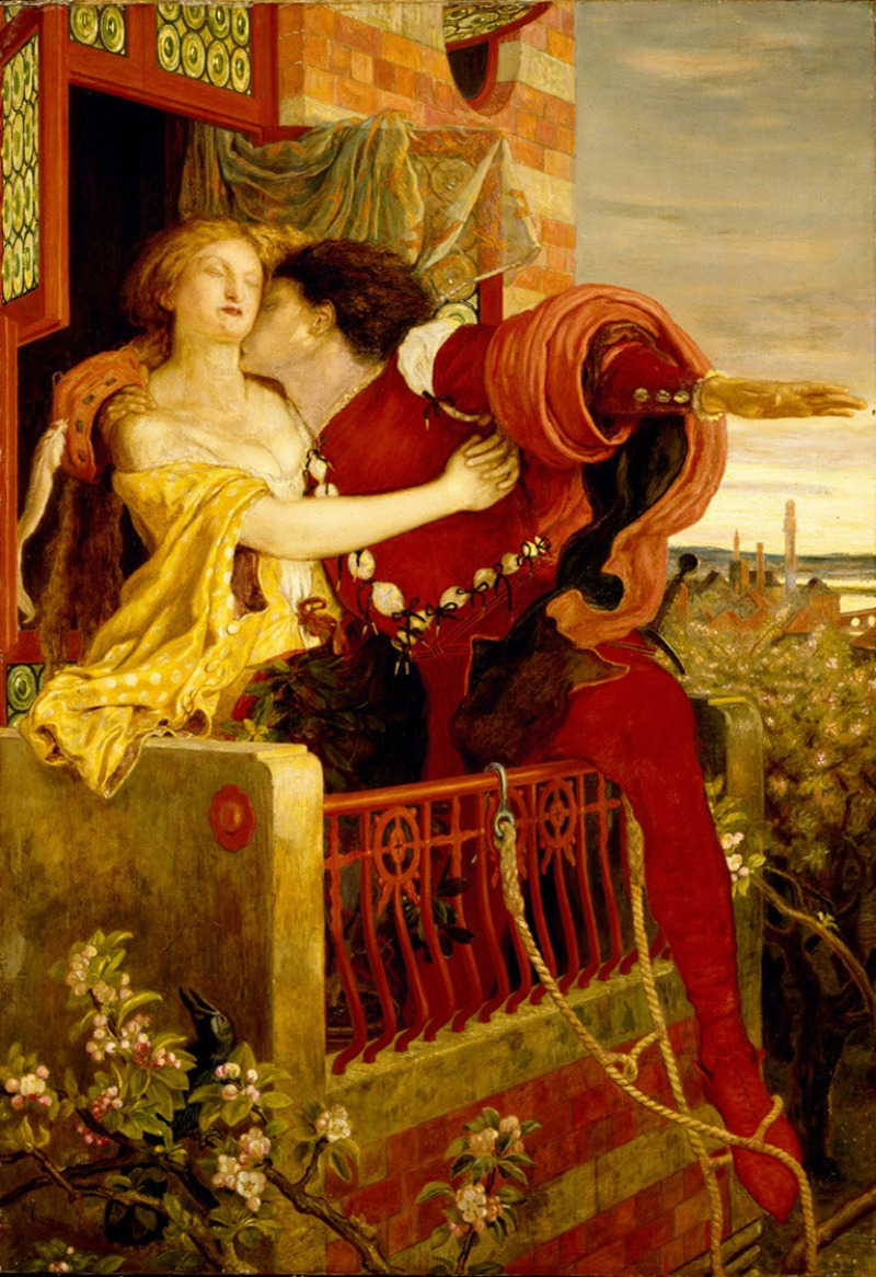 Romeo and Juliet parting on the balcony in Act III by Ford Maddox Brown, 1866.