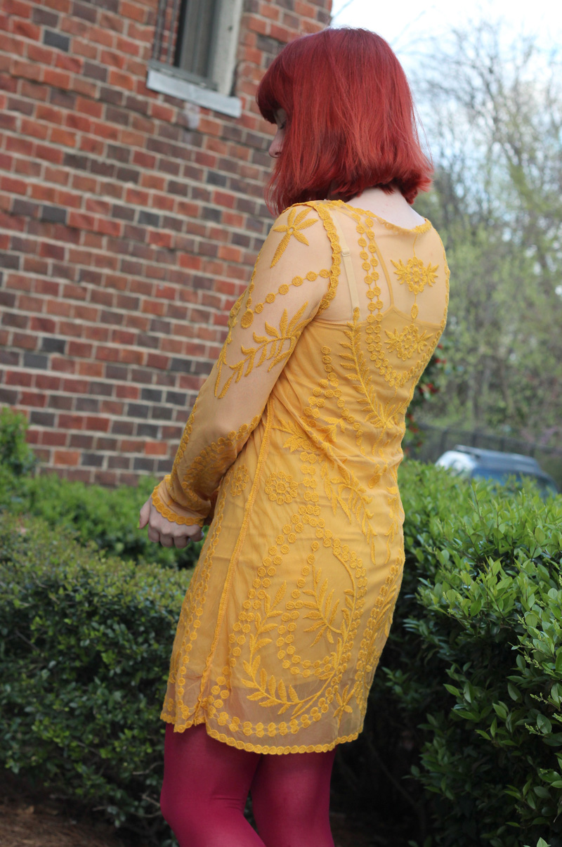 Sheer Long Sleeved Yellow Embroidered Dress and Red Hair