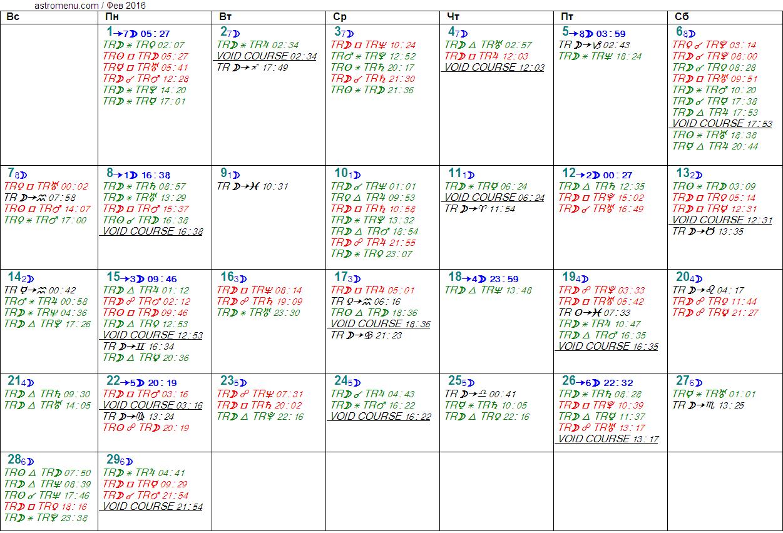 Астрологический календарь на ФЕВРАЛЬ 2016. Аспекты планет, ингрессии в знаки, фазы Луны и Луна без курса