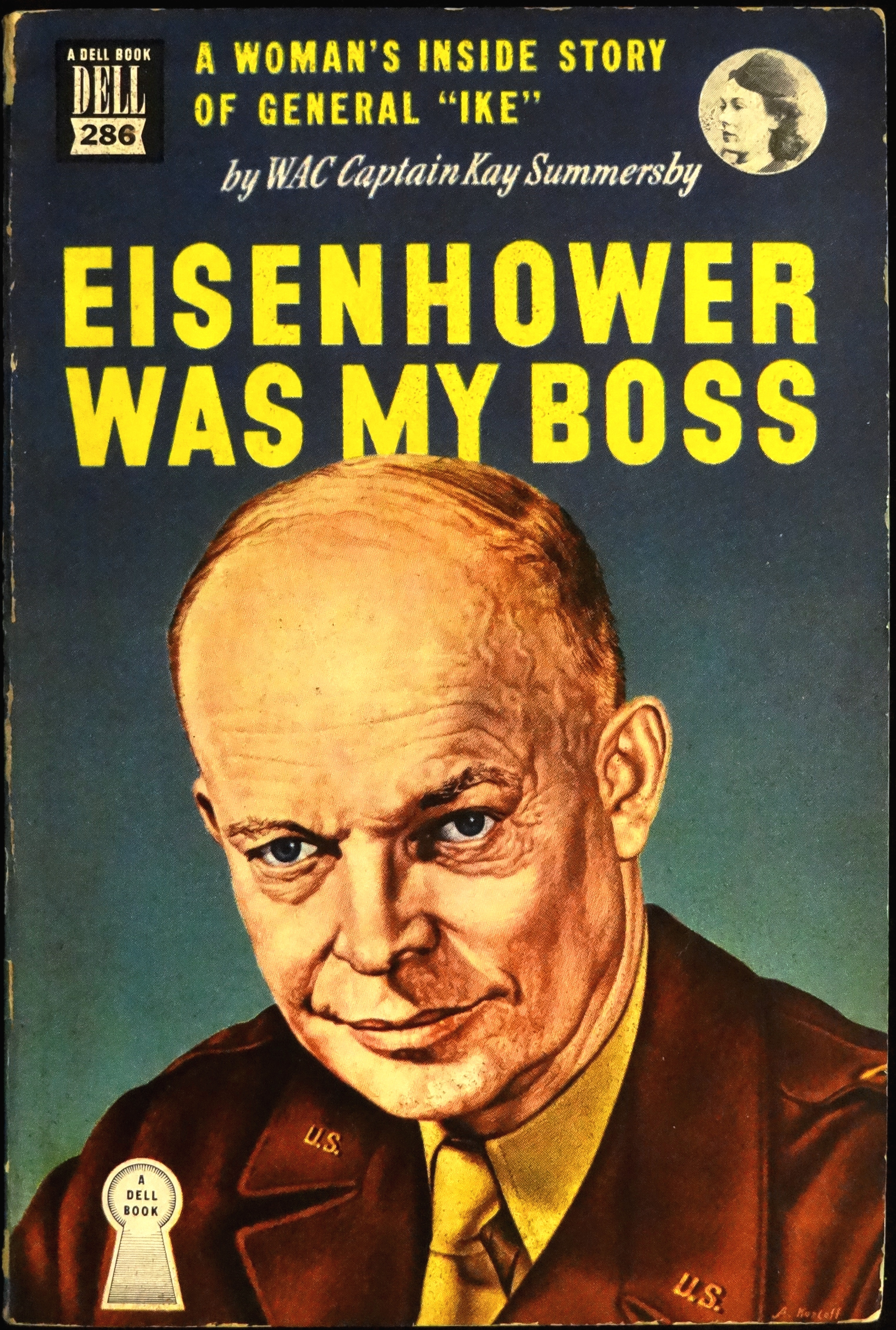 'Eisenhower Was My Boss' - by Captain Kay Summersby with Frank Kearns - Cover art by Alexander T. Kozloff - Dell Mapback No. 286 - 1949